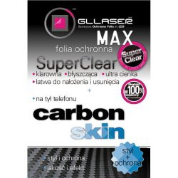 Folia Ochronna Gllaser MAX SuperClear + CARBON Skin do HTC HD2